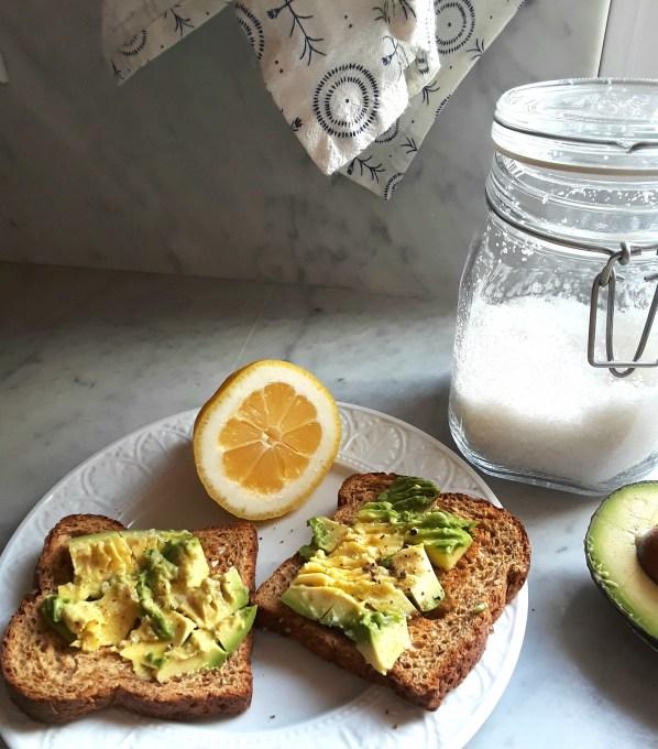 chopped avocado on toast