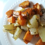 Cubes of kohlrabi and sweet potato are baked with rosemary and tarragon