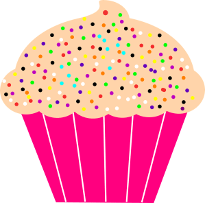 cupcake with sprinkles in a pink paper muffin cup