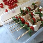 put finished skewers in a plastic container