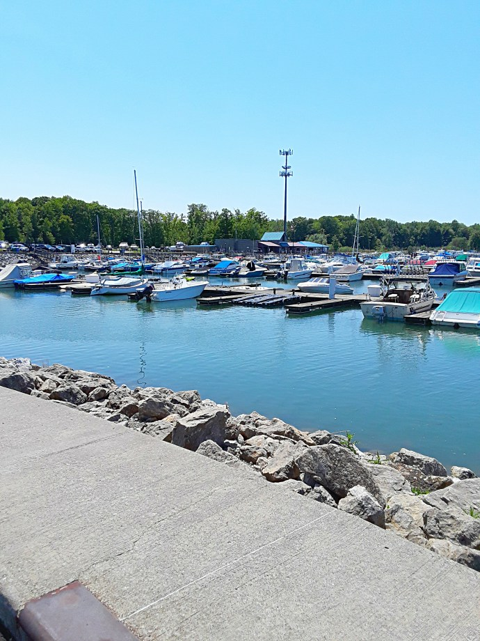 The state park marina is filled with power boats and sail boats.