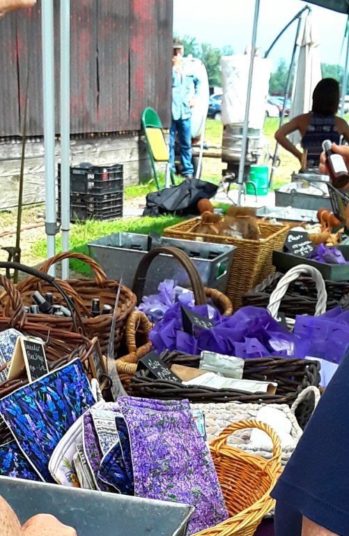 Baskets of lavender-infused products for sale at a lavender farm.