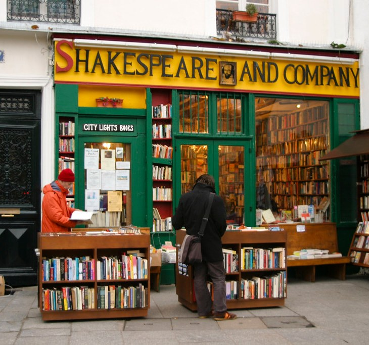 Shakespeare and Company, Paris is painted bright green and yellow so it is hard to miss