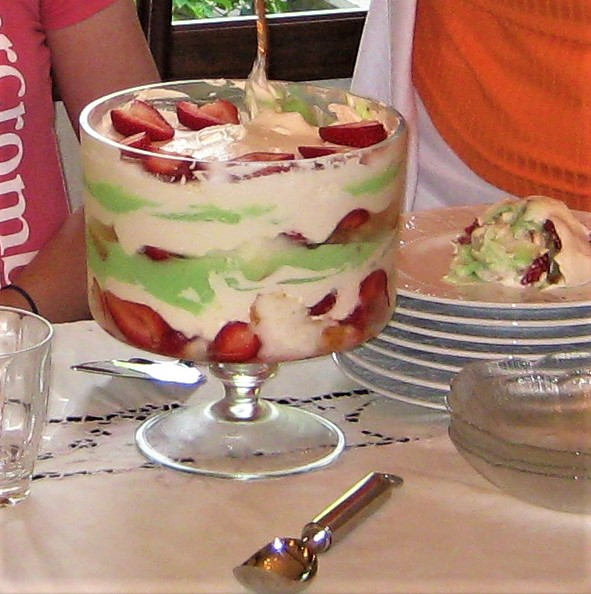 A trifle bowl's sides are perpendicular to its base.