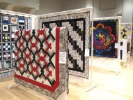 Quilts on display.