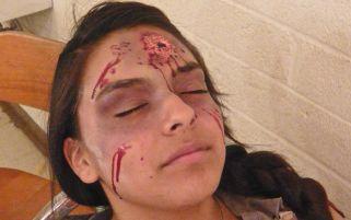 Yadira wearing zombie makeup