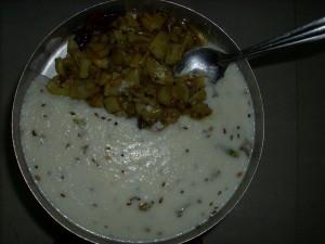 Koozh Served with Potato Sabzi