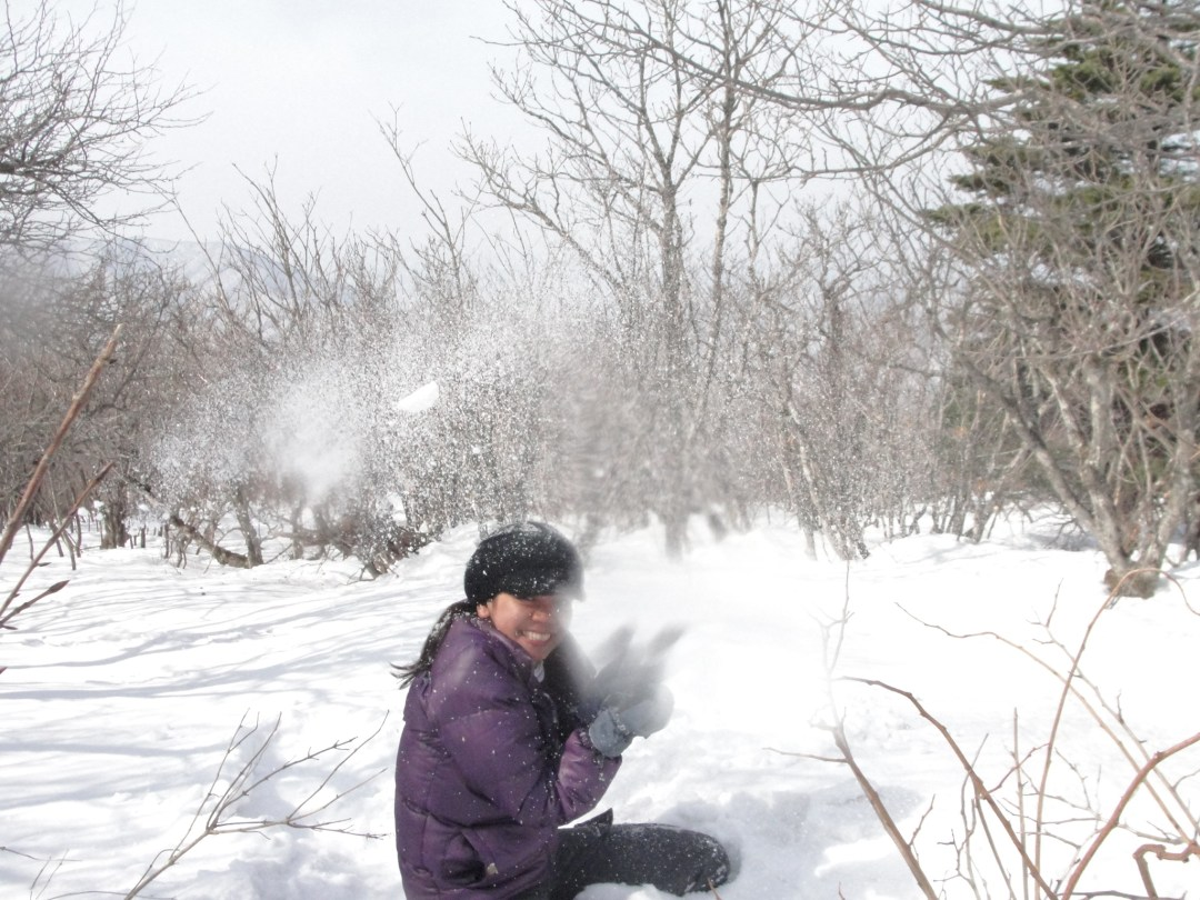 Playing with snow in Yongpyong South Korea