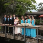 Wedding Party on a bridge over a small lake