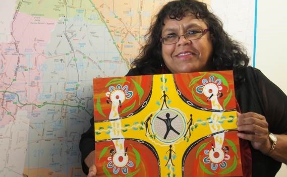 Lynette Briggs with her artwork