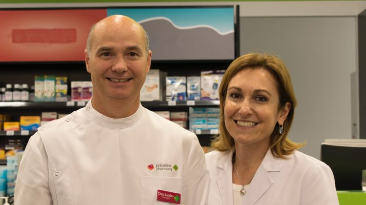 Franchise partners of Priceline Pharmacy Marrickville Metro, NSW, Chris Buckley and Nicole Savoy.