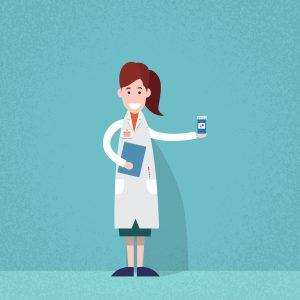 pharmacist doctor medicines pills cartoon vector illustration