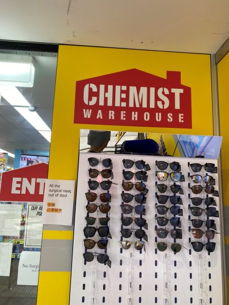 A Chemist Warehouse advises patients that it has run out of face masks.