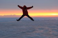 Abe playing on the frozen ocean at sunset, so happy to be in Antarctica!!