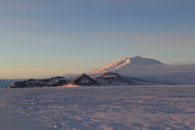 I got to see Mt. Erebus for the first time this day! Here it looms high above the Hut Point Peninsula, with McMurdo Station tucked into the Bay. Hut Point (and Scott's Discovery Hut) is at the left end of the image, and roughly in the center is Ob Hill. © A. Padilla