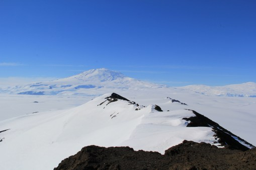 The view north from Castle Rock. Mount Erebus in the background, and a ridge extending from castle rock in the foreground. © A. Padilla
