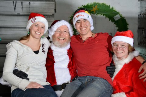 Bev and Abe with Santa (Joe Shubert - our resident doctor) and Mrs. Claus (Lea Claus - flight nurse). © R. Piuk