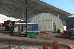 The Science Cargo warehouse and USAP Cargo office (little blue building in front) at McMurdo Station, Antarctica. © A. Padilla