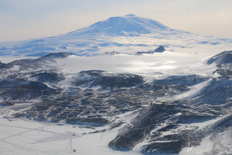 View over McMurdo Station, at the base of Hut Point Peninsula, and Mt. Erebus on Ross Island, Antarctica. © A. Padilla