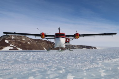 Twin Otter sitting on blue ice at Odell Glacier, Antarctica. © A. Padilla