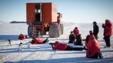 Our group gathered behind the Delta Passenger Vehicle, on the sea ice road to Cape Evans, while three curious Adélie penguins investigate. © G. Stone