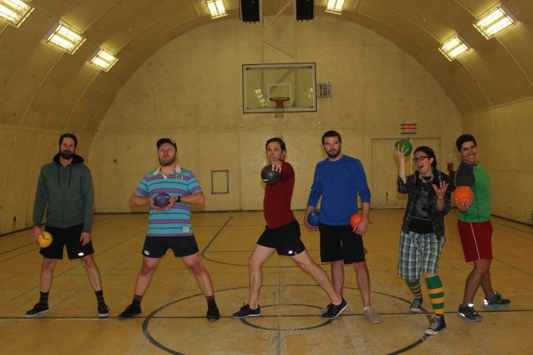 "Team Raging Bonus: McMurdo's 2015-2016 Dodgeball Tournament Champions. (L-R: ""Headshot"" Dean, ""Tornado Throw"" Tyler, ""Spider Pig"" Spencer, ""Balls to the Wall"" Brad, ""Locked-in"" Leslie, and ""Ageless"" Abe)"