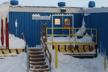 Entrance to the McMurdo Station Weight Room and Fitness Room.