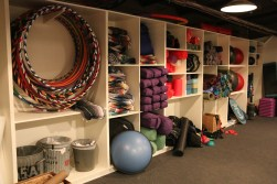 "Variety of multi-purpose equipment available at McMurdo's Fitness Room: hula hoops, ""Mexican"" blankets, foam rollers, yoga mats, jumping ropes, exercise balls, free weights, and much more."