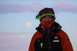 Ursula enjoys the full moon over the Ross Ice Shelf. © A. Padilla