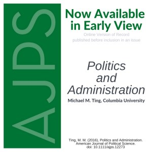 AJPS Early View - Politics and Administration - Ting, M. M.