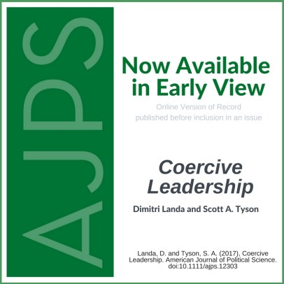 AJPS Early View: Coercive Leadership