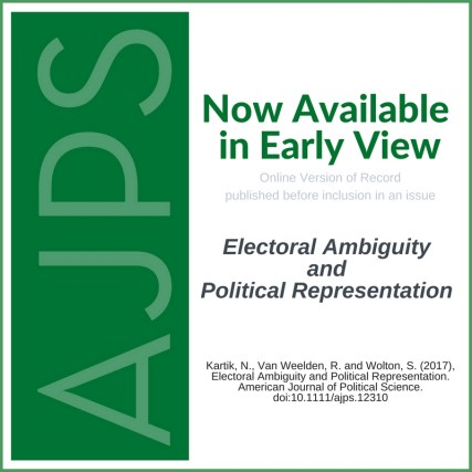 AJPS Early View: Electoral Ambiguity and Political Representation