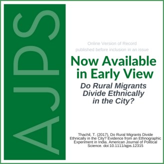 AJPS - Do Rural Migrants Divide Ethnically in the City?