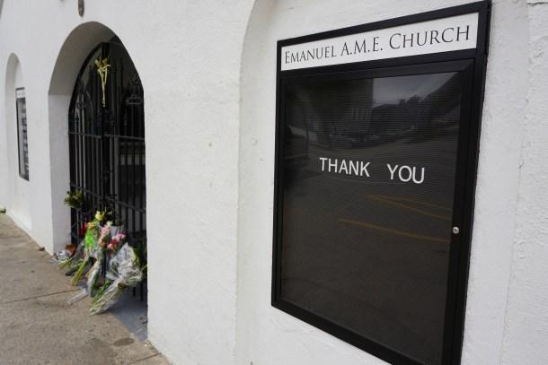 Charleston, South Carolina, USA - January 6, 2016: Memorial flowers placed at Emanuel AME Church.