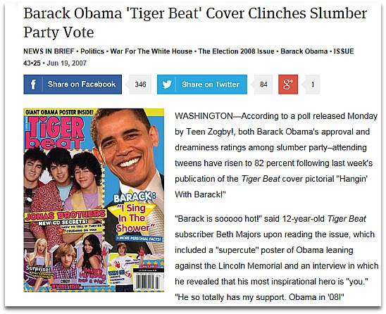 The Onion's satirical story about Tiger Beat's cover