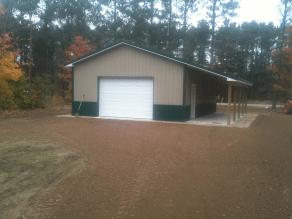 Gravel grade around barn