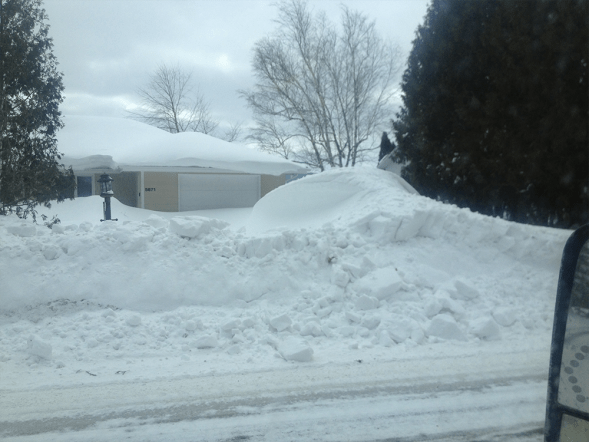 Snow drift we cleared out with loader
