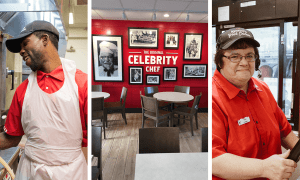 three photos set together horizontally, the photos on the ends are of happy looking employees