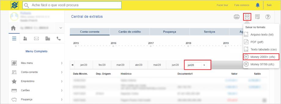 Exportar o Arquivo OFX - Banco do Brasil