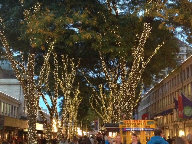 Faneuill Hall - such pretty lights and energy