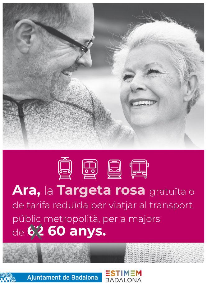 Badalona amplia el programa de la targeta rosa metropolitana a les persones de més de 60 anys empadronades al municipi