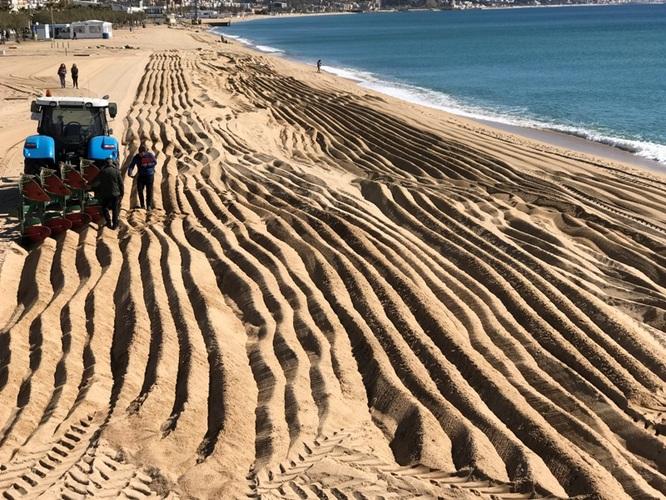 Les màquines han començat avui el llaurat i garbellat de la sorra per a la posada a punt de les platges de Badalona per a la temporada de bany