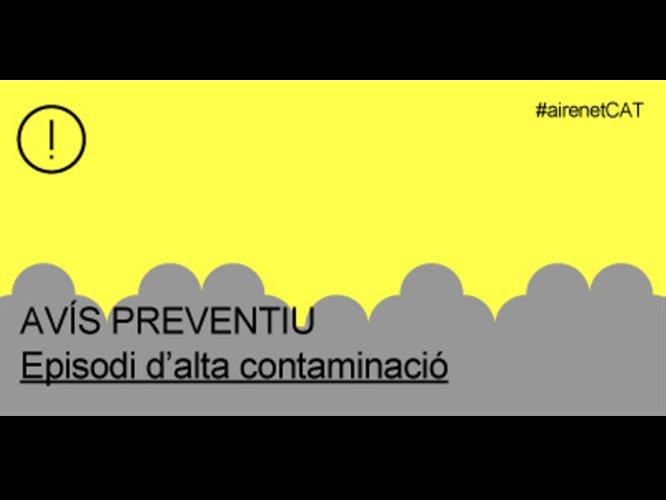 La Generalitat estén l'avís preventiu per contaminació per partícules a tot Catalunya