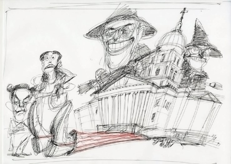 Unfinished sketch by Victor Juhasz depicting Kansas Governor Sam Brownback, Dorothy, Uncle Sam beneath the Kansas Statehouse, and the Koch Brothers overhead.