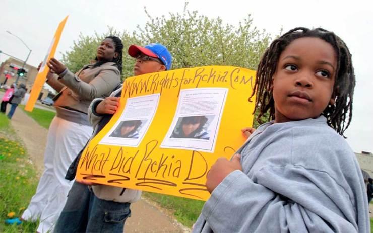 Rekia Boyd's nephews protest her killing in 2012.