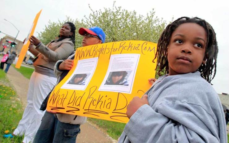 Rekia Boyd's nephews protest her killing in 2012.