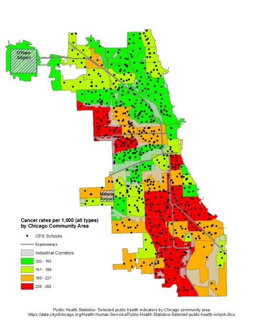 Map of cancer rates per 1,000 residents by Chicago community area, Chicago Department of Public Health Statistics