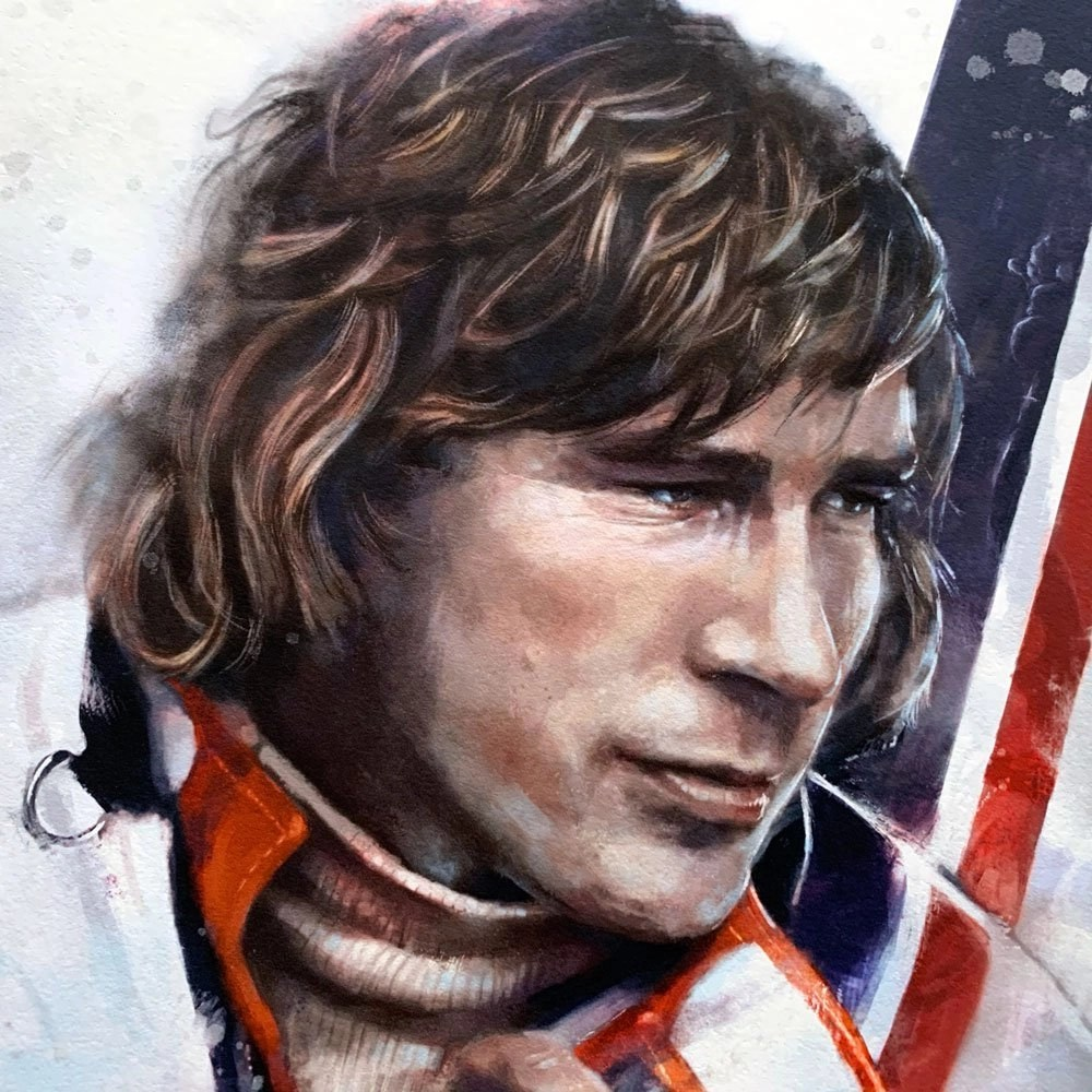 Detail of portrait of James Hunt