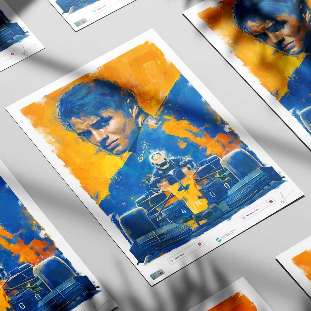 Lando Norris artwork displayed in a group