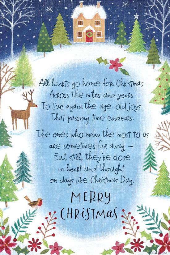 Christmas Poem Across The Miles Christmas ECard Blue